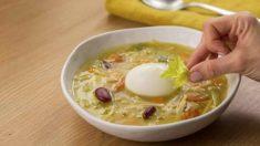 Receta de Cazuela de fideos con huevo poché