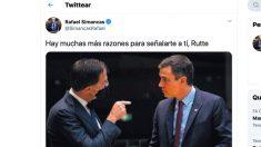 Tuit de Rafael Simancas objeto de polémica.