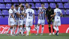 Los jugadores del Valladolid celebran un gol ante el Valladolid. (Getty)