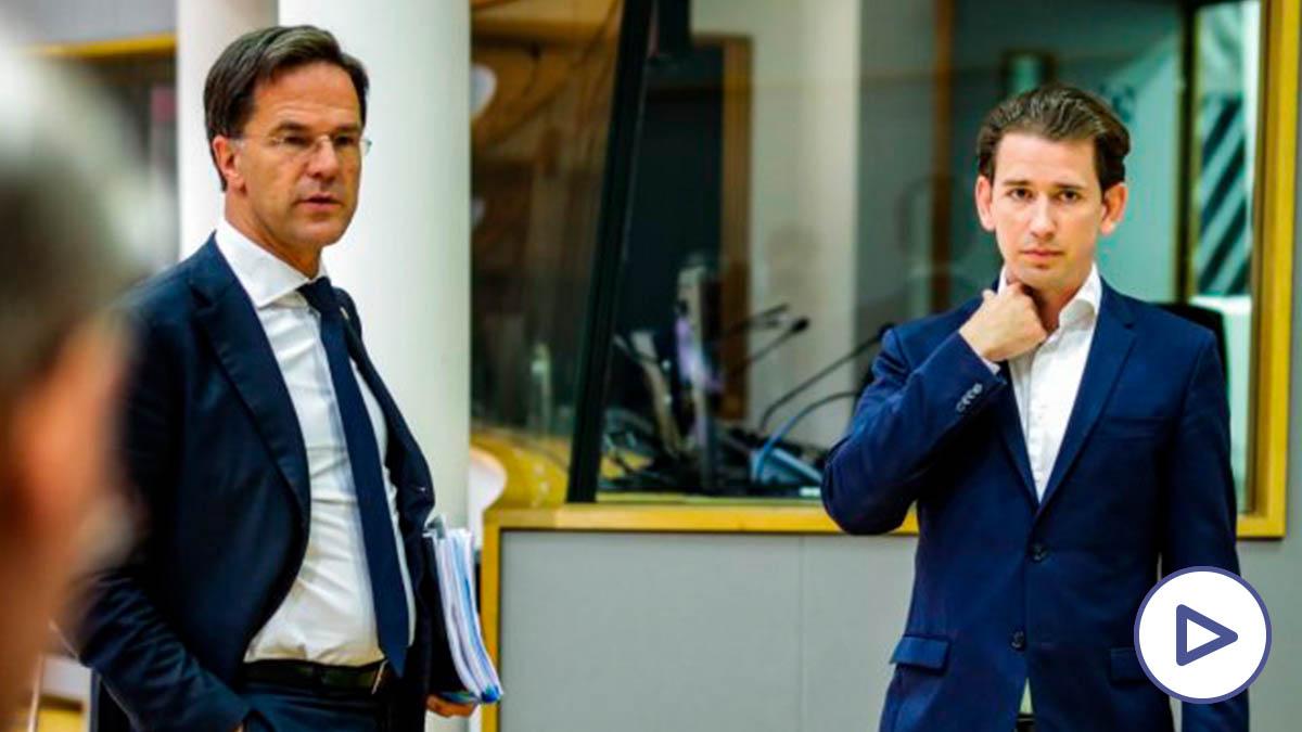 Mark Rutte, primer ministro de los Países Bajos y Sebastian Kurz, canciller de Austria