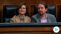 Carmen Calvo y Pablo Iglesias en el Congreso. (Foto. PSOE)