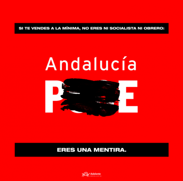 Campaña contra el PSOE de Adelante Andalucía.