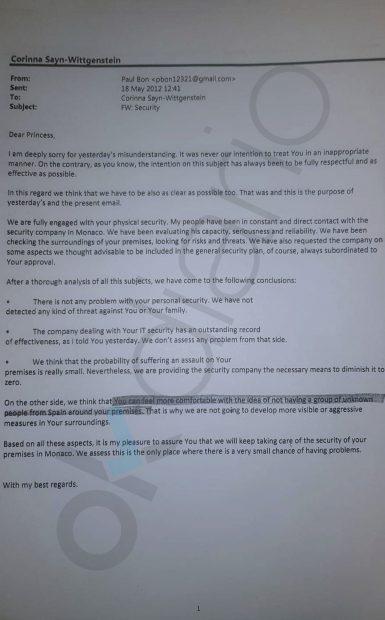 Otro de los mails escritos a Corinna por Sanz Roldán, que usaba el pseudónimo de Paul Bons.