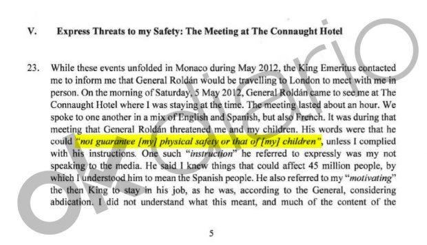 """Acta notarial en la que la princesa Corinna declaró que Sanz Roldán le trasladó que si no cumplía sus instrucciones """"no podía garantizarme mi seguridad física ni la de mis hijos""""."""