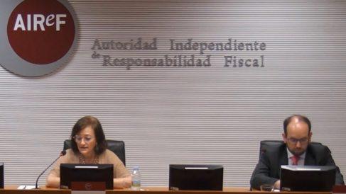 La presidenta de la Airef, Cristina Herrero, durante la presentación del informe.