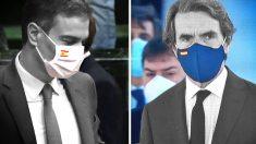 Pedro Sánchez y José María Aznar, ambos con una mascarilla que luce la bandera de España.