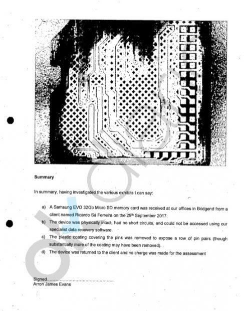 Extracto del informe remitido al juez Manuel García-Castellón en el que aparece la tarjeta SD.