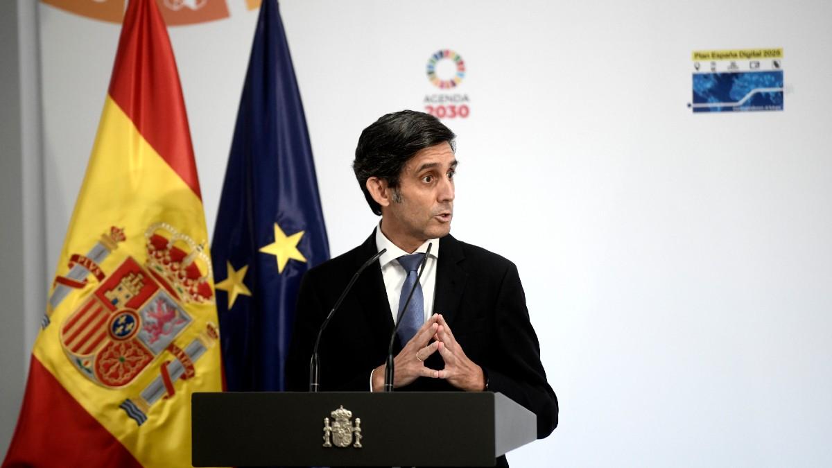 El presidente de Telefónica, José María Álvarez-Pallete, durante la presentación del Plan Digital 2025.