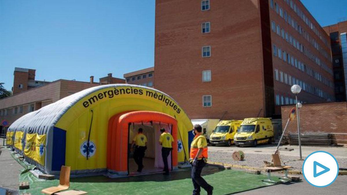 Hospital de campaña montado en el Hospital Universitario Arnau de Vilanova de Lérida.