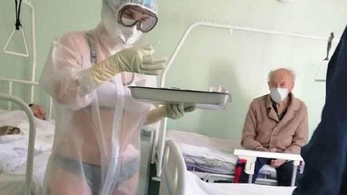 La enfermera rusa que iba en ropa interior será ahora «chica del tiempo».