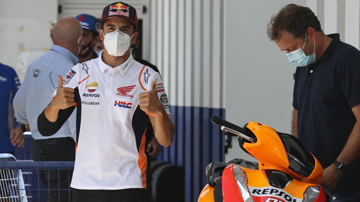 Marc Márquez, en su box de Jerez. (AFP)