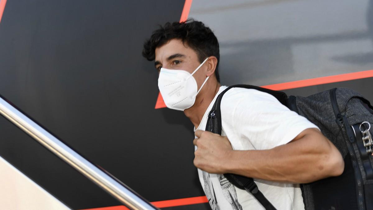 Marc Márquez,  a su llegada al circuito de Jerez.