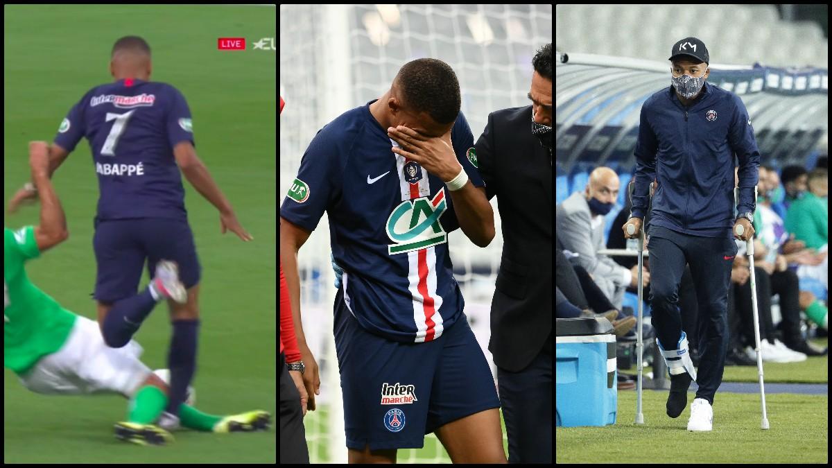 Mbappé se marchó llorando y en muletas tras una entrada criminal. (AFP)