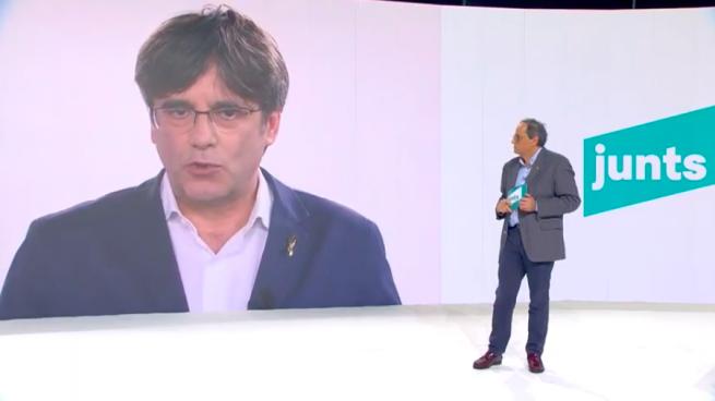 Puigdemont en la fundación de JxCat: «Sólo podremos sobrevivir si no estamos sujetos al Estado español»