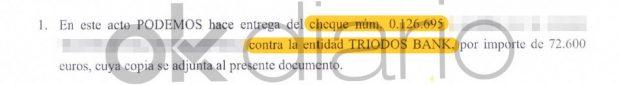 Podemos acordó abonar al familiar de Pablo Iglesias la cuantía de 72.600 euros en un cheque con número 0.126.695