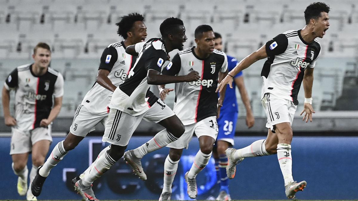 Cristiano Ronaldo celebra el 1-0 de la Juventus ante la Sampdoria. (AFP)
