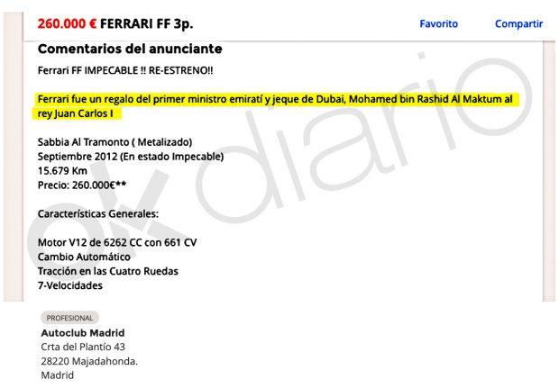 Anuncio colgado por Autoclub Madrid del Ferrari FF que perteneció al Rey Juan Carlos I.