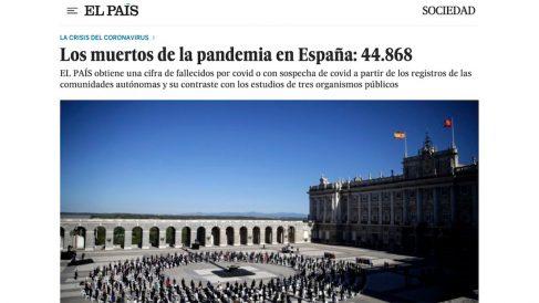 Publicación de 'El País' donde cifra los muertos por covid en España en más de 44.000.