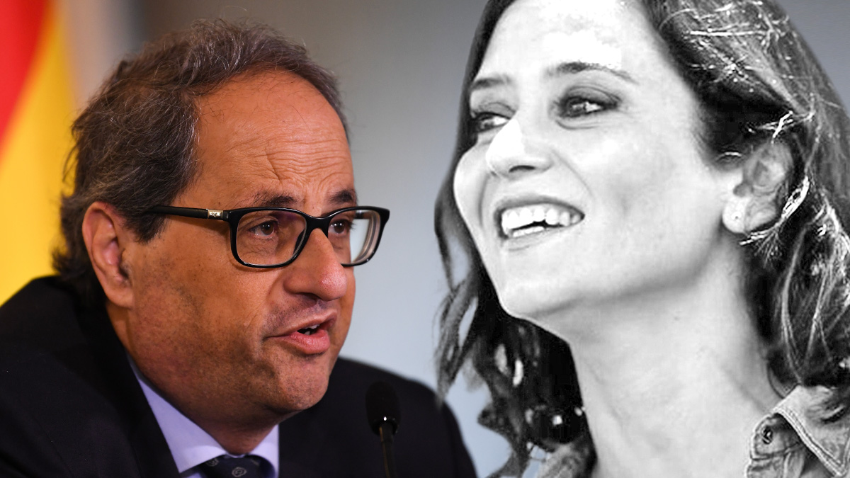 La presidenta de la Comunidad de Madrid, Isabel Díaz Ayuso, y el ex presidente de la Generalitat de Cataluña, Quim Torra.