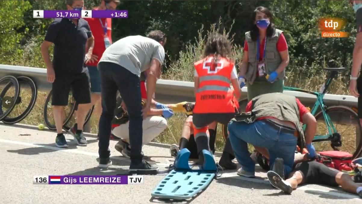 El momento de accidente que dejó a Leemreize malparado.
