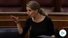 La ministra de Trabajo, Yolanda Díaz, en una sesión plenaria del Congreso. (Pool)