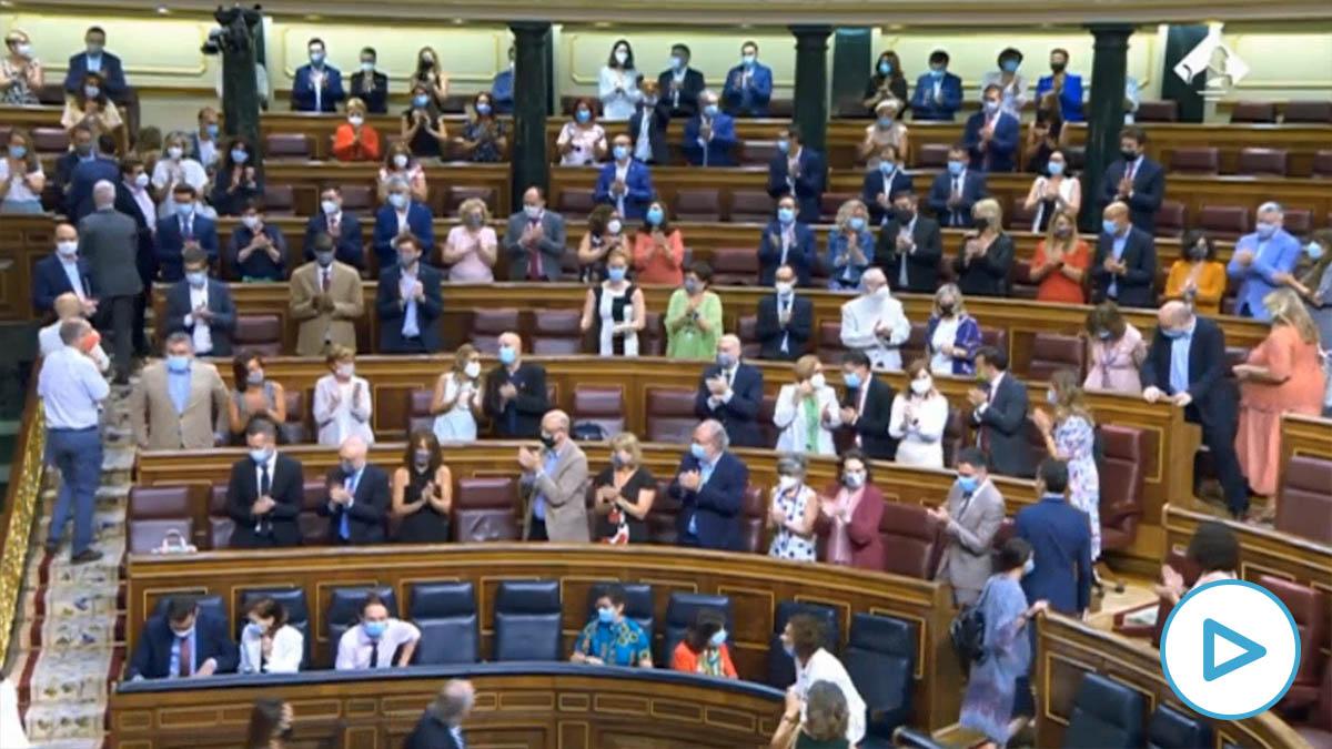 El PSOE viola el protocolo anti-Cocid del Congreso y cuela a sus diputados palmeros para jalear a Pedro Sánchez.