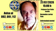 Desaparecido un hombre de 62 años en Sevilla