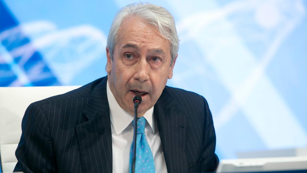 Antonio Zoido, presidente de BME, durante la junta de accionistas celebrada en el Palacio de la Bolsa de Madrid