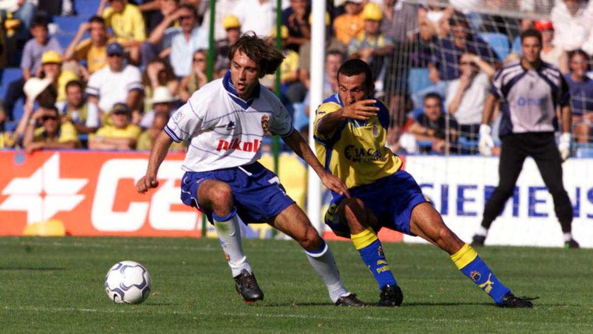 Juanele, durante un partido con el Zaragoza ante Las Palmas. (Getty)