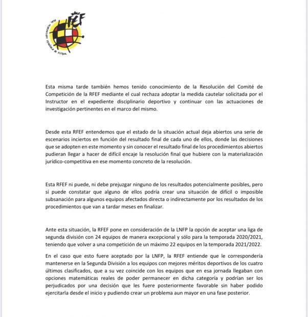 La Federación propone una Segunda División de 24 equipos