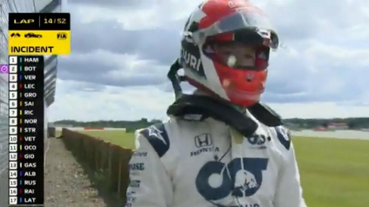 Daniil Kvyat, tras su accidente en el GP de Gran Bretaña.