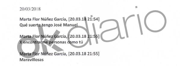 Mensaje de Marta Flor a José Manuel Calvente