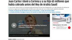 OKDIARIO desveló el pasado 3 de marzo el regalo de 65 millones que Juan Carlos I realizó a Corinna desde sus cuentas suizas.