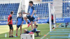 Los jugadores del Fuenlabra, en un entrenamiento.