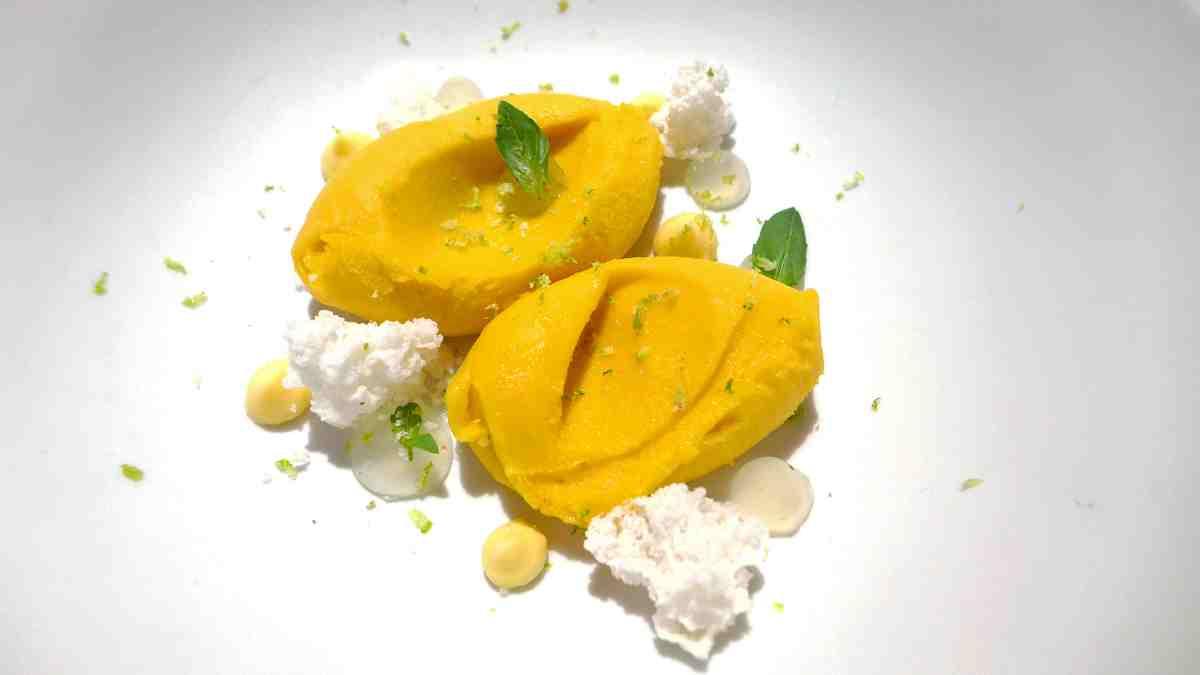 Receta de Helado de mango, menta y lima