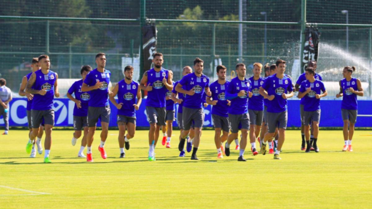 Los jugadores del Deportivo, en un entrenamiento.