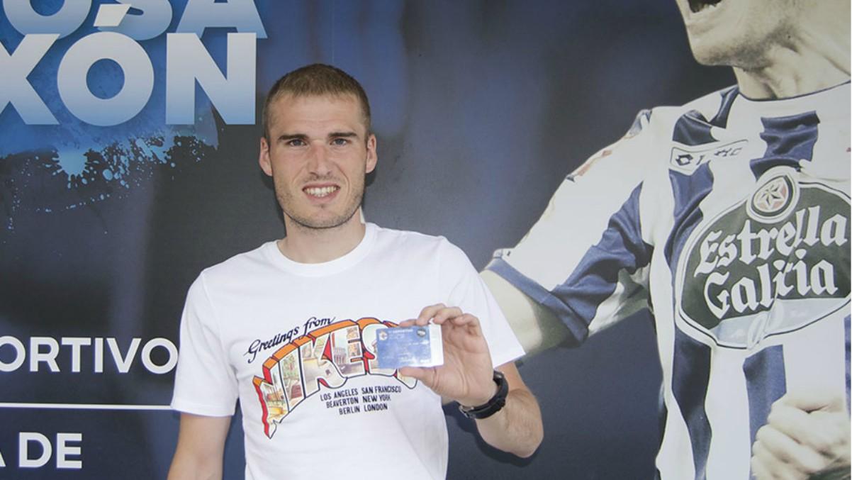 Álex Bergantiños en una campaña de abonados del Deportivo. (rcdeportivo.es)