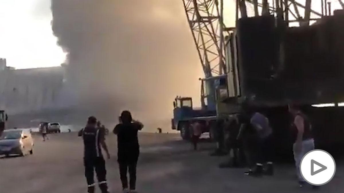 La explosión de Beirut vista desde el puerto