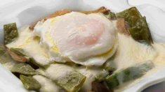 Receta de Judías verdes con champiñón y huevo escalfado