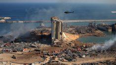 Una fotografía del lugar donde se produjo la explosión, en el puerto de Beirut, la capital del Líbano. Foto: AFP
