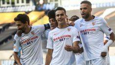 El Sevilla celebra un gol. (AFP)