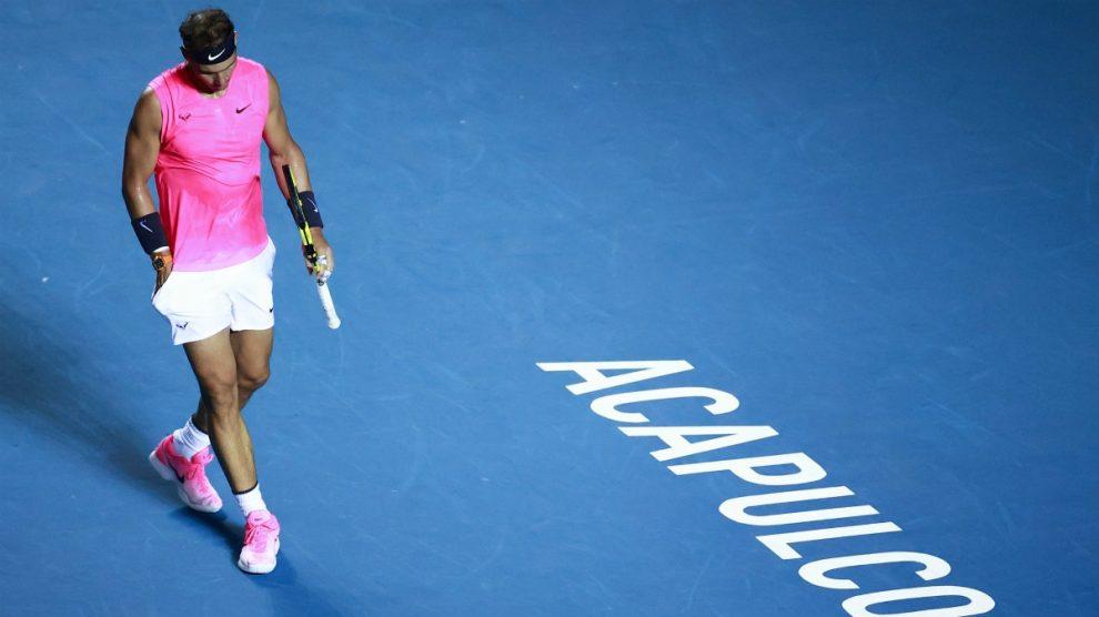 Rafael Nadal durante el último torneo que disputó en 2020, en Acapulco. (Getty)