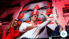 El candidato a la presidencia del Gobierno por el PSOE, Pedro Sánchez, durante su valoración de los resultados electorales en la sede socialista en la Calle Ferraz de Madrid. EFE/JuanJo Martín.