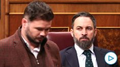 El presidente de Vox, Santiago Abascal y el portavoz de ERC, Gabriel Rufián, en el Congreso. (Foto: Europa Press)