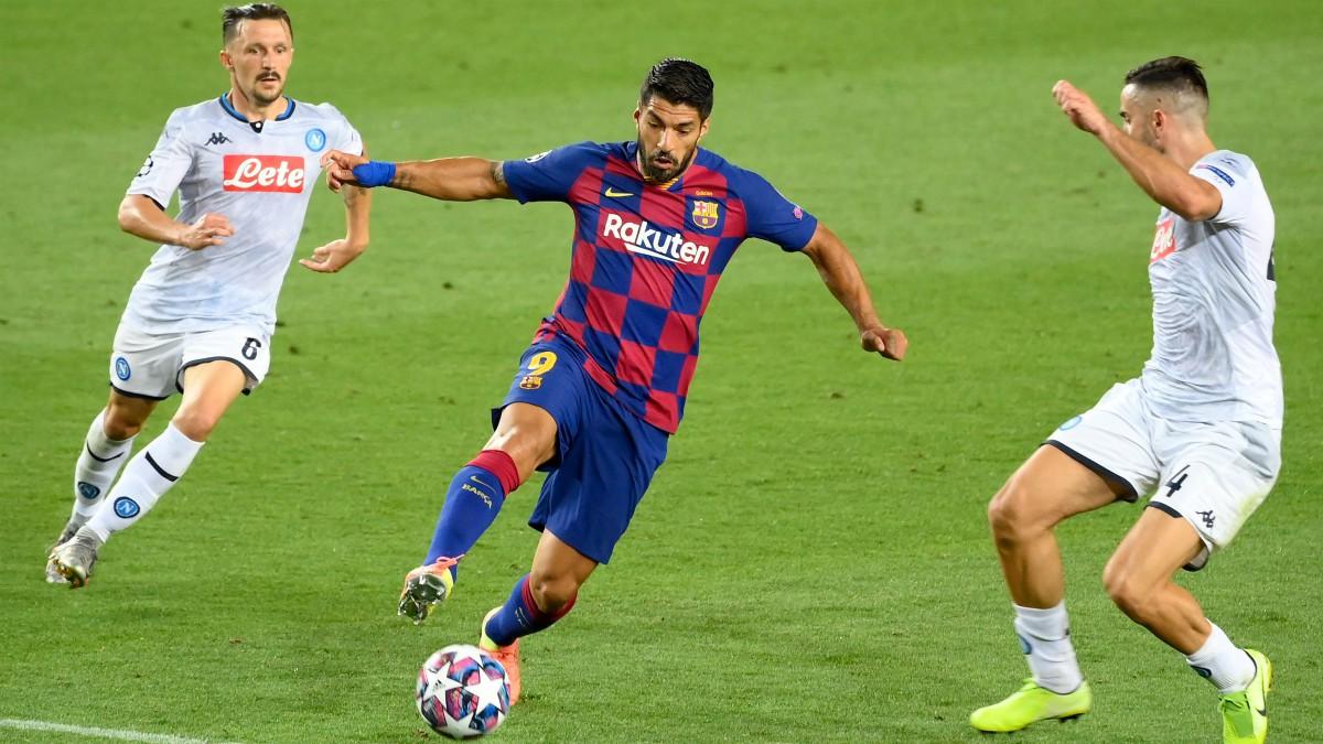 Luis Suárez durante el Barcelona – Nápoles. (AFP)