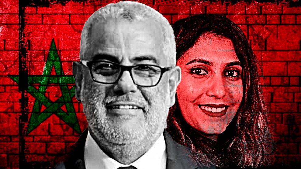 El primer ministro de Marruecos, el islamista Abdelilah Benkirane, y la asesora de Pablo Iglesias Dina Bousselham.