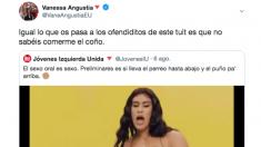 El mensaje publicado en Twitter por la ex senadora de Unidas Podemos Vanessa Angustia.