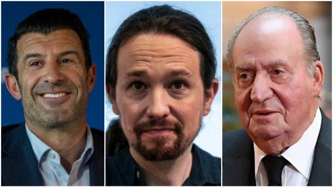 Figo, Pablo Iglesias y Juan Carlos I.
