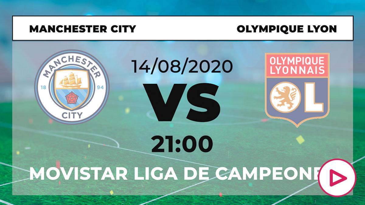 Manchester City-Lyon: horario y dónde ver el partido de Champions League hoy en directo por TV online.