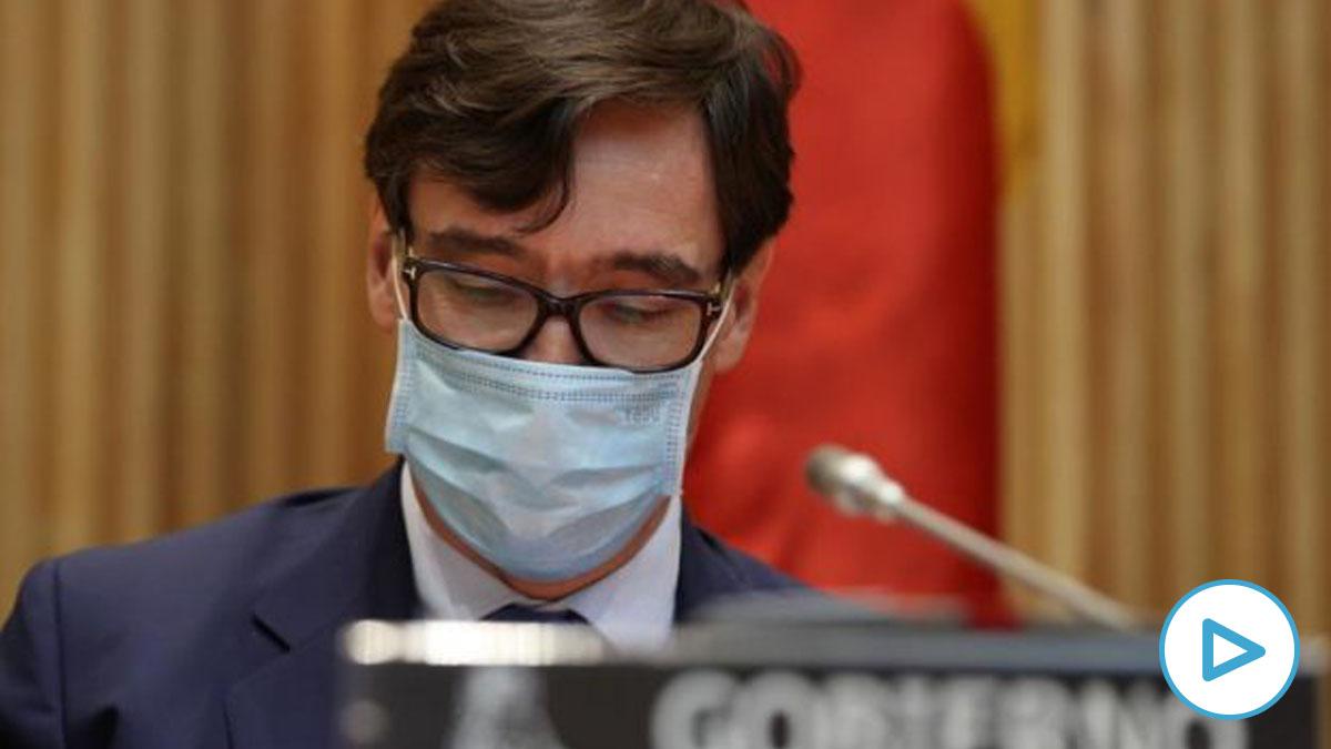 Salvador Illa, ministro de Sanidad, durante su intervención en el Congreso.